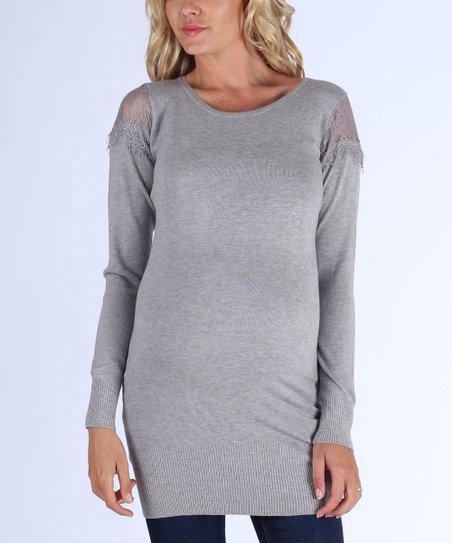 017506d3fa1b3 PinkBlush Maternity Gray Lace-Back Maternity Sweater | Zulily