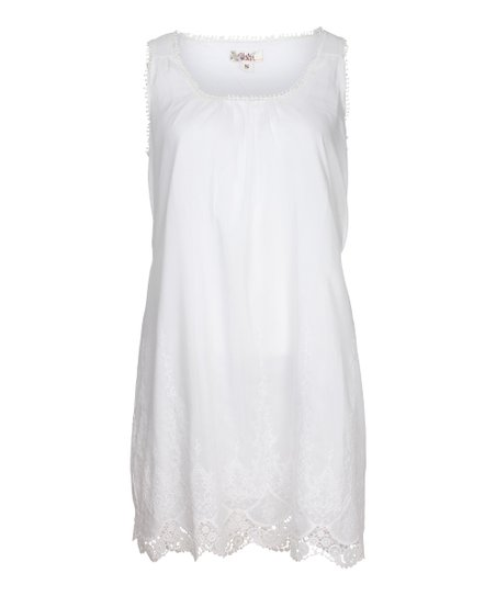 7919dfa528e2 love this product White Scallop-Trim Tie-Waist Shift Dress