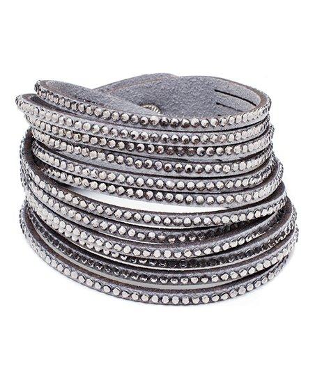 Barzel Gray Wrap Bracelet With Swarovski Crystals