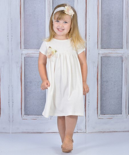 3a0a5d8b3c love this product Off-White Flower Babydoll Dress   Headband - Infant    Toddler