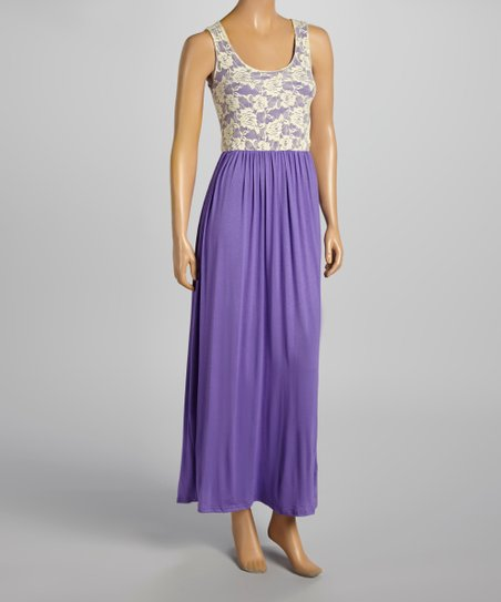 9a2f65de092 love this product Purple   Cream Lace Maxi Dress