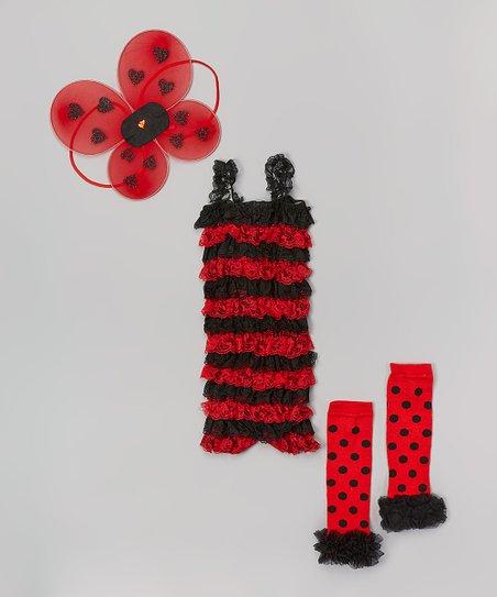 c73daf0dd902 Miss Fancy Pants Red   Black Ladybug Ruffle Romper Set - Infant
