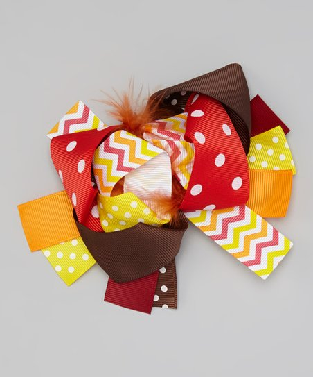 5a188979c014 Miss Fancy Pants Red   Yellow Marabou Bow Clip