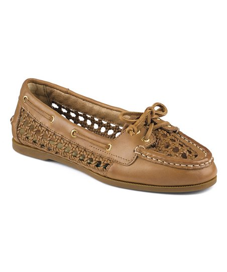 61b97cfba2 Sperry Top-Sider Tan Caning Audrey Woven Leather Boat Shoe