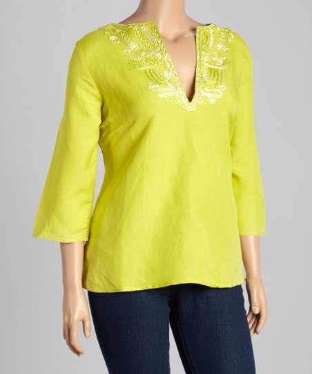 Lime Embroidered Notch Neck Blouse Plus Zulily