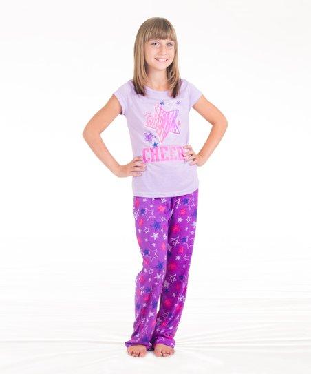 activewear apparel lavender purple cheer star pajamas girls zulily