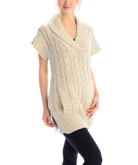 2bea2e5d7d3 VICE VERSA Beige Cable-Knit Shawl Collar Sweater Dress