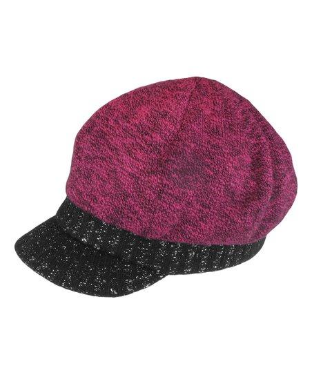 5994015e690 Capelli New York Pink   Black Slub-Knit Newsboy Hat - Girls