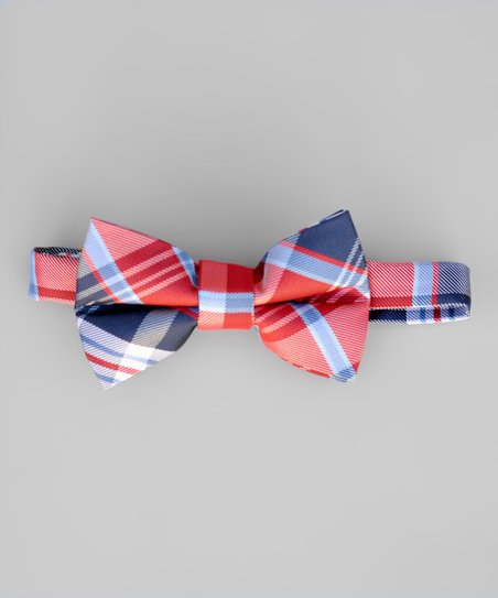 One Size Little Boys Blue Plaid Bow Tie with Adjustable Strap