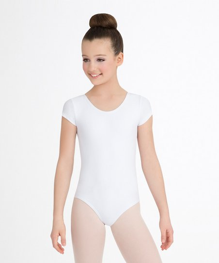 fc3571476f love this product White Short-Sleeve Leotard - Toddler   Girls