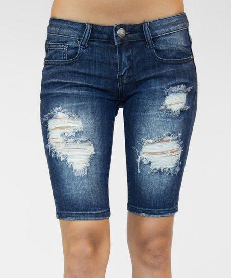 5e126779fe Machine Jeans Inc. Dark Blue Distressed Denim Bermuda Shorts | Zulily
