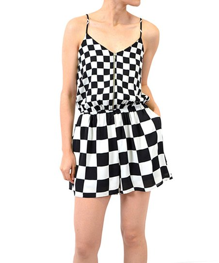 bfe235725882 Potters Pot Black   White Checkerboard Zip-Up Romper