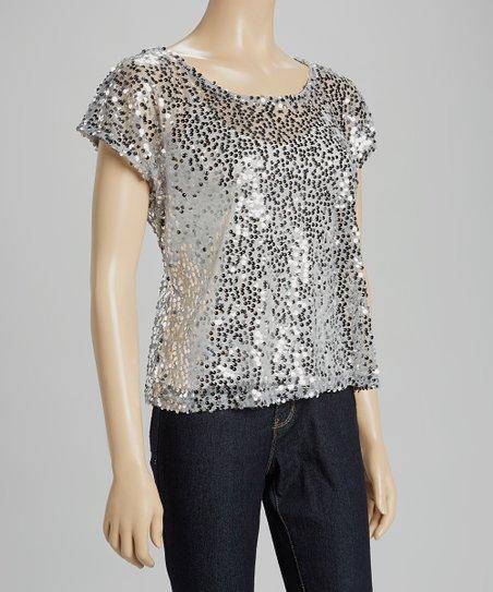 a01c67893a3 Heart & Hips Silver Sequin Cap-Sleeve Top   Zulily