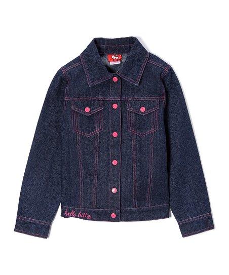 8601ec2b8 E-play Brands Dark Indigo Hello Kitty Denim Jacket - Girls | Zulily