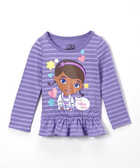 4b3f973661a3 Disney Junior Purple Stripe Doc McStuffins Checkup Peplum Top ...
