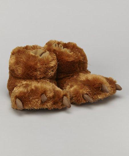 af93d1fc46f Lazy One Brown Bear Paw Slipper - Kids   Adult