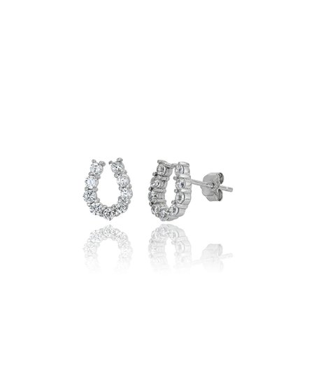 Sterling Silver Horse shoe stud earrings with Cubic Zirconia stone