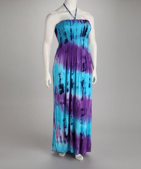 Turquoise & Purple Tie Dye Plus-Size Maxi Dress