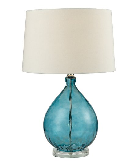 Teal Glass Drop Table Lamp