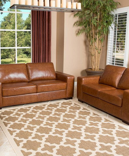 Saddle Brown England Hand-Rubbed Leather Living Room Set