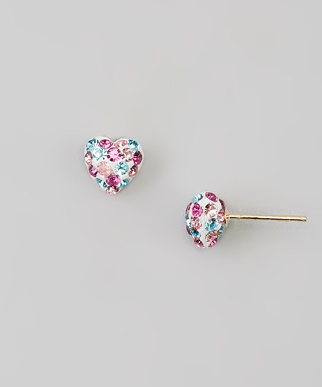 Pink 14k Gold Heart Stud Earrings With Swarovski Crystals