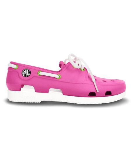 186e3c91a Crocs Fuchsia   White Beach Line Boat Shoe - Girls