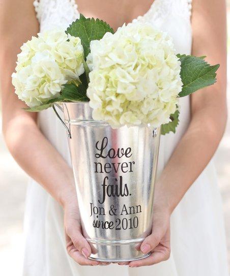 Morgann Hill Designs Love Never Fails Tin Personalized Vase