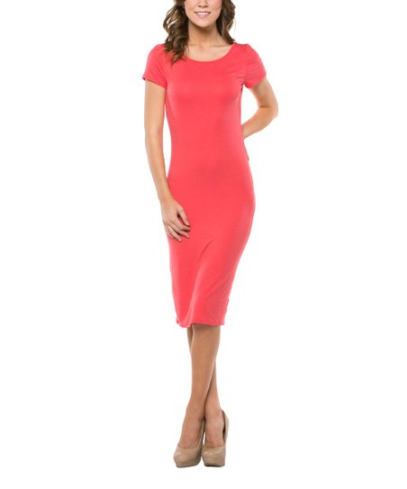 639bc7010761 ARIA FASHION USA Coral Plunge-Back Midi Dress | Zulily