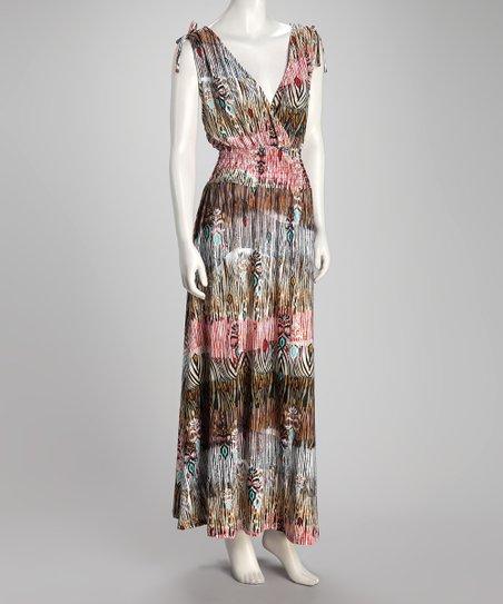 5e636012189e3 Just Love Brown Tiger Stripe Plus-Size Maxi Dress   Zulily