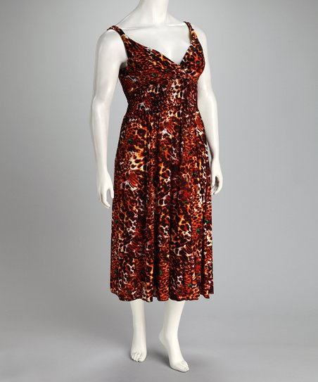 Just Love Orange Leopard Plus-Size Empire-Waist Dress