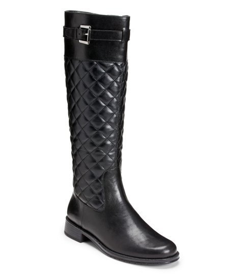 Black Quilted High Ride Wide-Calf Boot