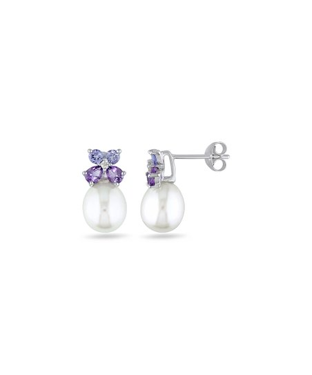 f1c890c01 love this product Tanzanite & Cultured Pearl Sterling Silver Stud Earrings