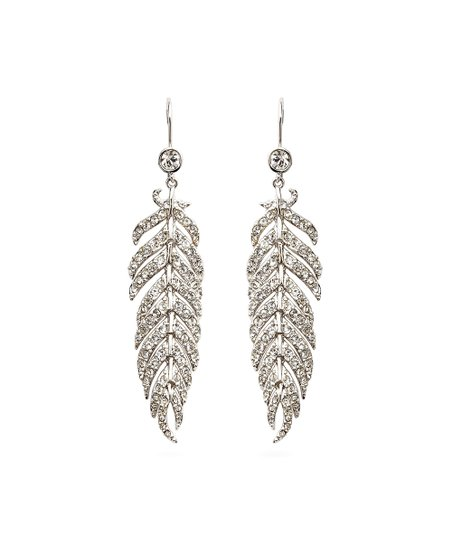 37673184d2c12 Amabel Designs Crystal & Silvertone Feather Drop Earrings