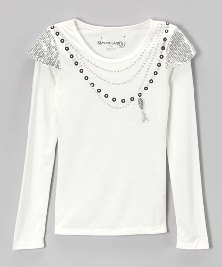 8f142f160227 love this product Vanilla Sequin Necklace Layered Tee - Girls