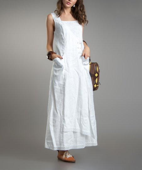 White Linen Maxi Long Dress