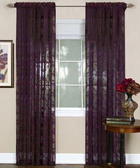 Eggplant Fleur De Lis Curtain Panel