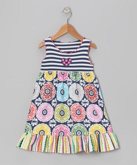 57c9e83b6ec149 love this product Slate Blue & White Floral Ruffle Dress - Toddler & Girls