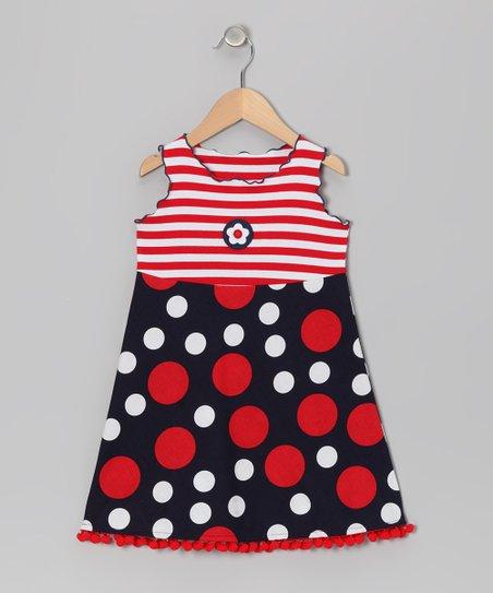abdf954316277f love this product Red & Blue Pom-Pom Dress - Toddler & Girls