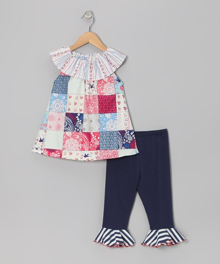 ac0bd5fd5d7401 love this product Light Blue & Red Patchwork Top & Capri Pants - Toddler &  Girls