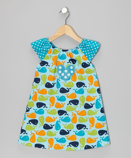 4aa896af29286b love this product Blue Whale Angel-Sleeve Dress - Toddler & Girls