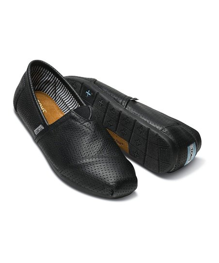 TOMS Black Perforated Leather Classics