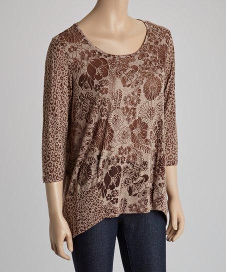 d86724096e9d48 Zashi Brown Floral & Leopard Scoop Neck Top | Zulily