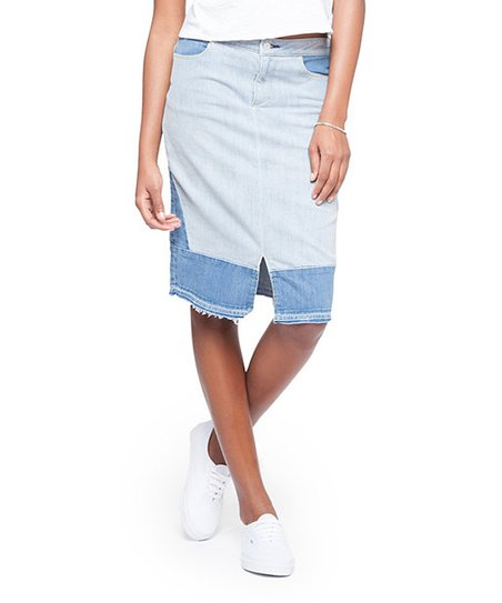 72a011b485 paperdenim cloth Blue Jane Patchwork Denim Pencil Skirt