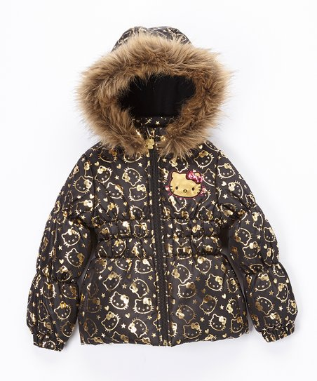 66f045704 love this product Black & Gold Hello Kitty Puffer Coat - Toddler & Girls