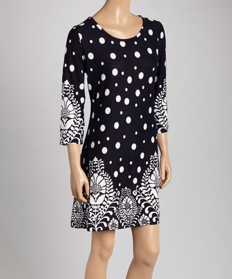 29e3f3cf5e0 love this product Navy   White Polka Dot Sweater Dress - Women