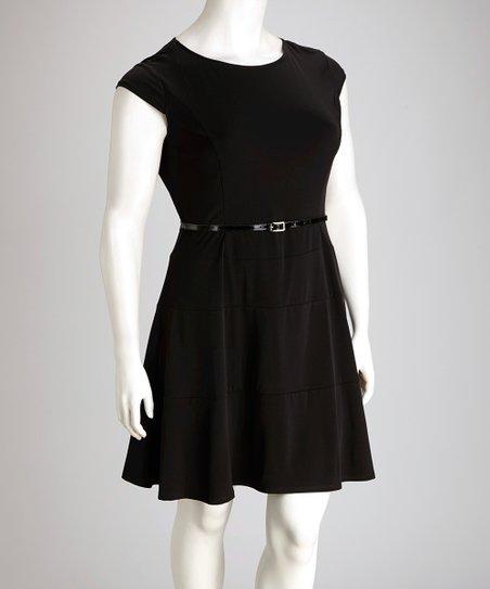AA Studio Black Belted Plus-Size Skater Dress