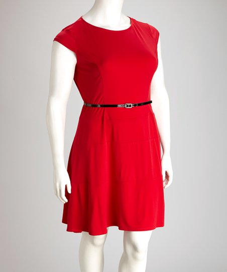 AA Studio Red Belted Plus-Size Skater Dress