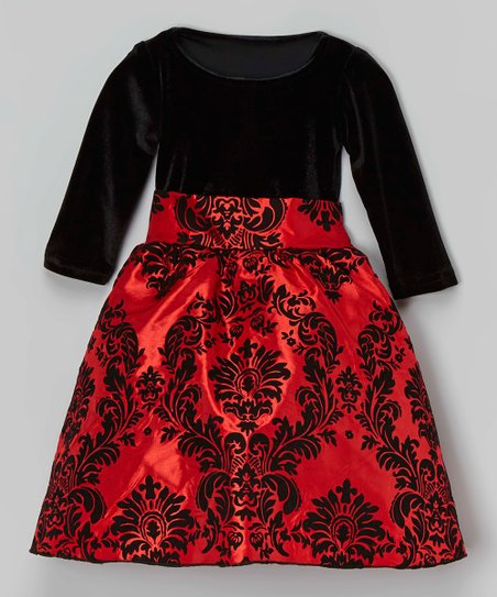 d07f7190d795 Kid Fashion Black & Red Damask Velvet Dress - Girls | Zulily