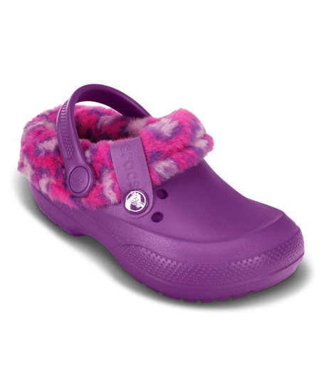 new high quality innovative design best sell Crocs Purple & Pink Blitzen II Animal Print Lined Clog - Girls