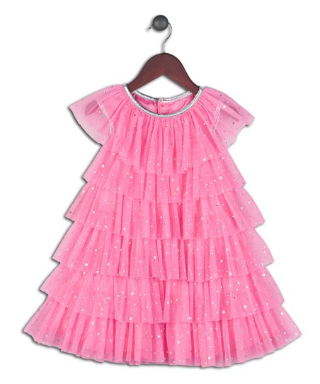 3dcff80990e041 love this product Pink   Silver Glitter Ruffle Dress - Infant